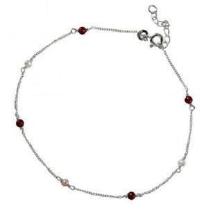 925 Sterling Silver Link Adjustable Beads Anklet